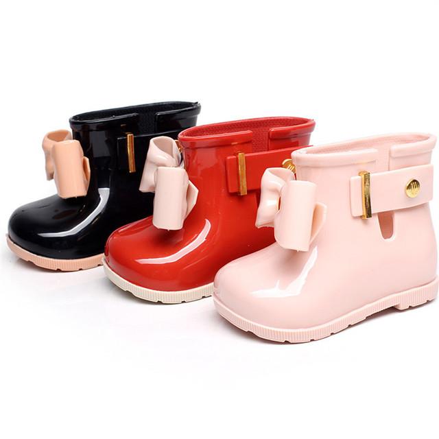 Mùa đông 2018 búi nơ bé thời trang giày chống trượt nước mưa ủng thạch trẻ em ủng nữ giày cotton trẻ em ngoại thương 0 Giày đi mưa
