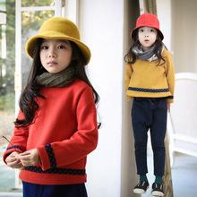 秋冬新款外贸女童加绒卫衣套头T恤韩版童装中大儿童宝宝上衣外套
