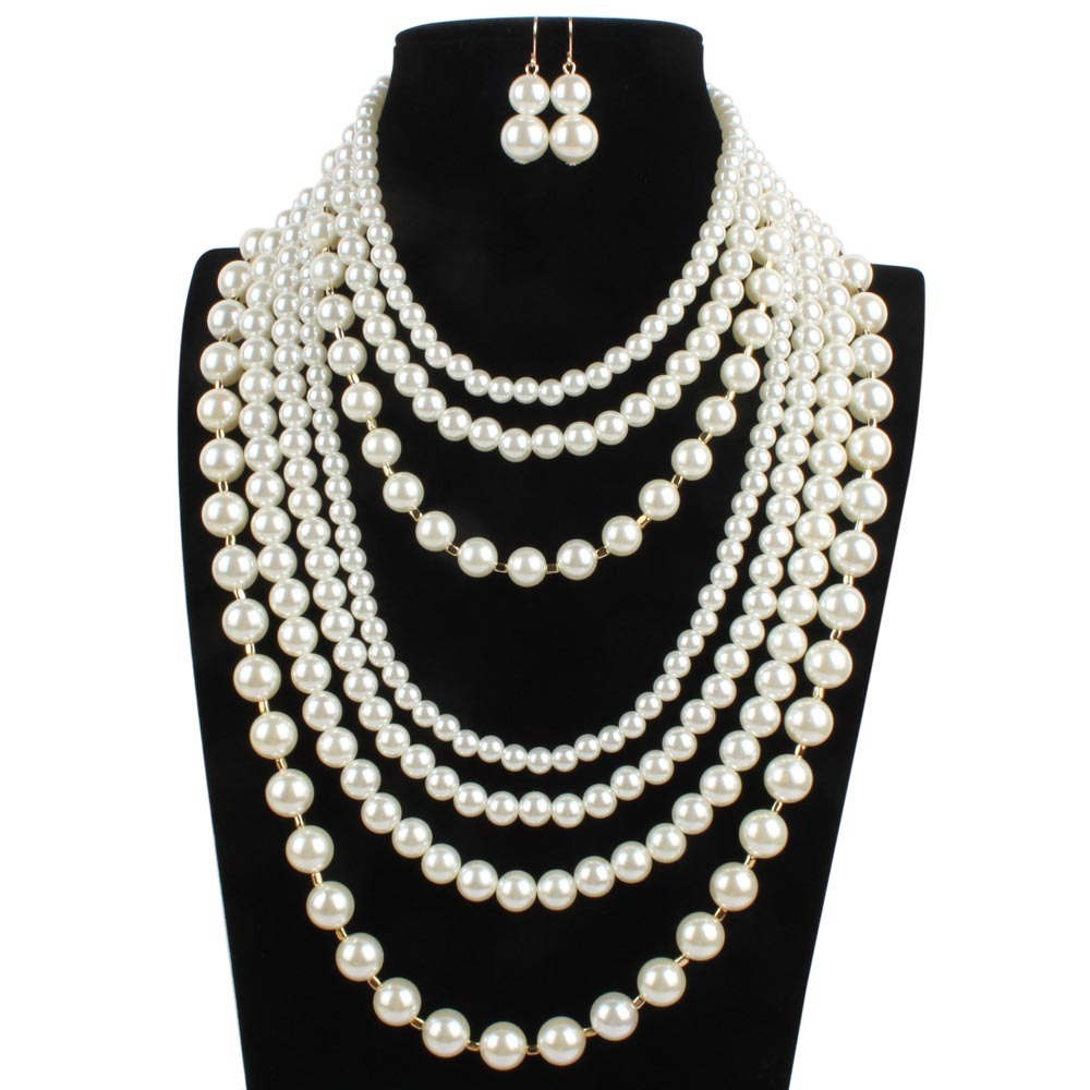 Occident and the United States pearlnecklace (creamy-white)NHCT0031-creamy-white