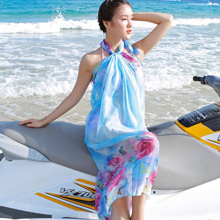 防晒丝巾披纱海边沙滩巾冬季围巾披肩两用长款超大披肩女裹巾