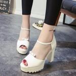 Sandals nữ gót thô, mẫu mới trẻ trung, phong cách Hàn Quốc