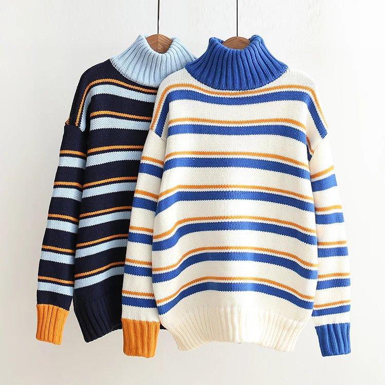 秋冬季新款高领条纹毛衫个性撞色套头针织衫宽松外套毛衣粗毛线女