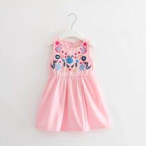 Children's spring and summer dress, girls exquisite embroidered vest, skirt, cotton doll skirt, factory direct sales