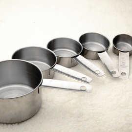不锈钢量杯量勺5件套卷边奶粉勺小工具甜品计量勺咖啡量勺