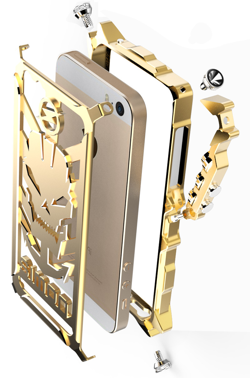 SIMON Mechanical Arm Skull Punk Premium Aluminum Metal Bumper Shockproof Case Cover for Apple iPhone SE/5S/5