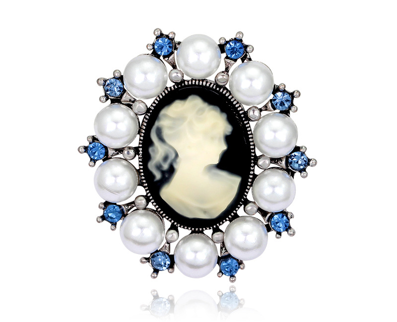 Vintage Beauty Head Brooch Pin Round Alloy Diamond Pearl Corsage Scarf Buckle NHDR183257