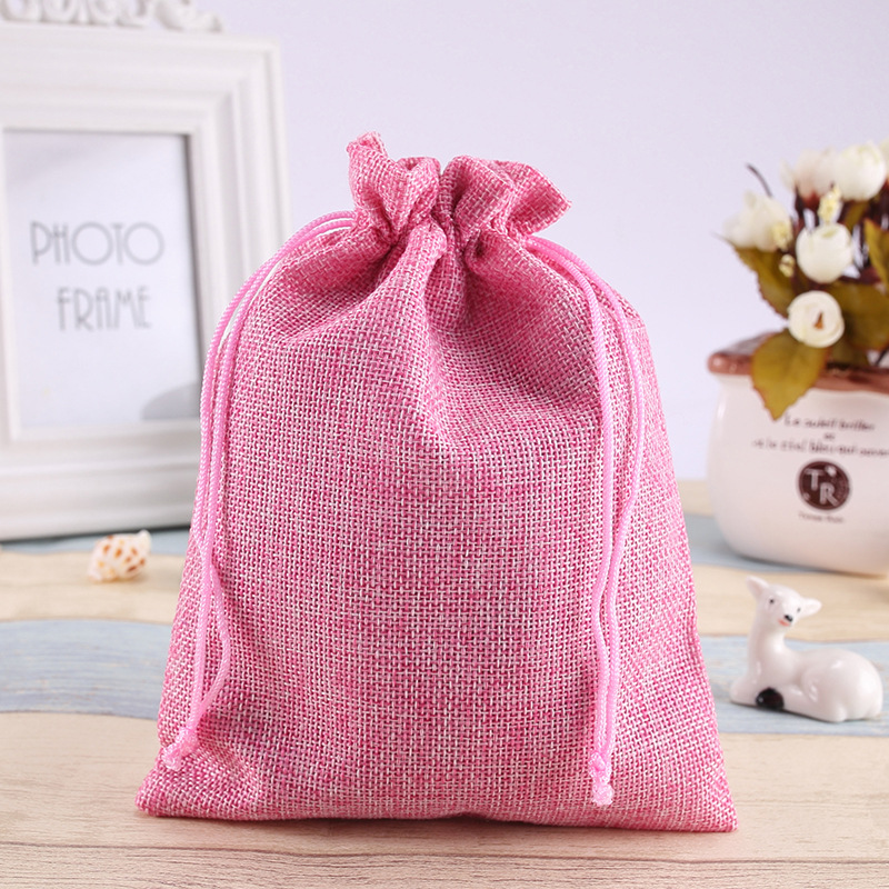 14*19Cm spot hessian bags linen drawcord beam pocket gift jewelry products small cloth bag linen Pink