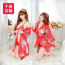 日式和服性感情趣內衣誘惑套裝女春睡衣真人胖MM加大碼夏制服透明