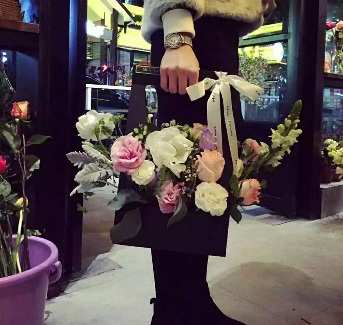 花艺课手提花篮纸质礼品盒加厚防水鲜花手提袋 鲜花礼盒包装纸