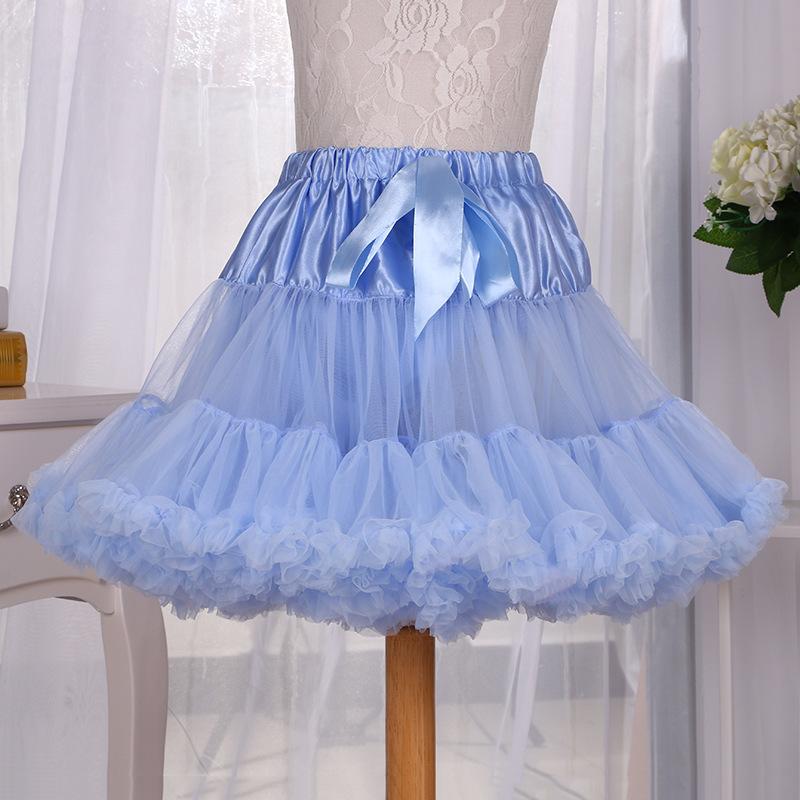 加厚版三层欧美风淡蓝色 芭蕾舞裙蓬蓬裙半身裙 热销