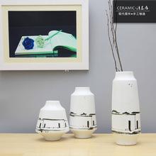 清茗居陶瓷花瓶三件套 手繪小村庄圖式陶瓷工藝品 支持定制