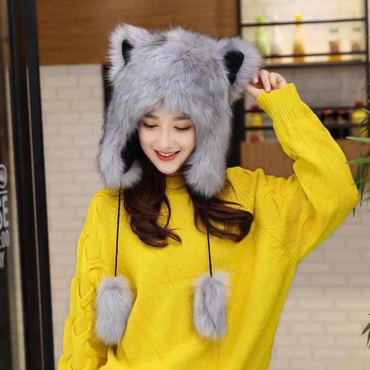 冬季女保暖加绒加厚可爱卡通狐狸雷锋帽东北户外护耳皮草动物帽子
