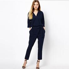 2019時尚新款歐美大牌風走秀款V領七分袖連體褲7007藍色