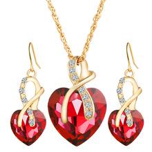 外貿歐美婚禮晚宴高檔心形奧地利水晶鋯石耳環項鏈首飾套裝女