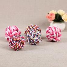 宠物棉绳啃咬玩具球 耐咬磨牙狗咬球 手工编织洁齿球玩具狗用品