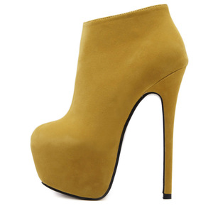 European autumn/winter sexy high heel 16 cm suede bare heel boots