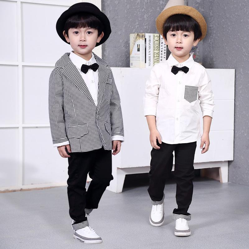 童装一件代发2020新款韩版春装男童套装宝宝千鸟格长袖西装外套