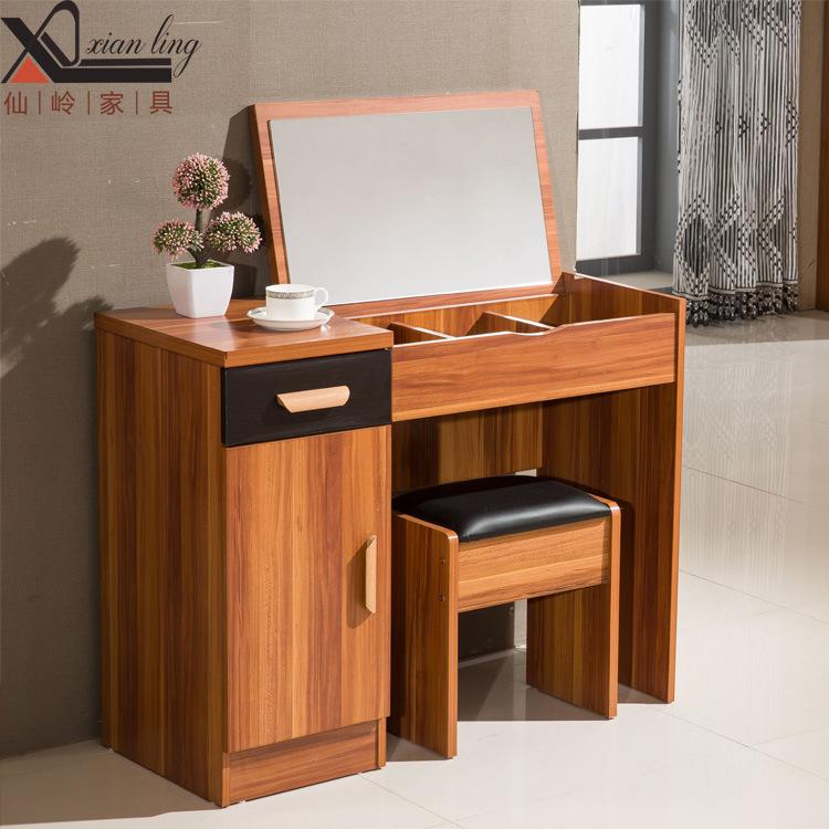 简易翻盖梳妆台 卧室简约现代组装小户型带镜子带凳化妆台 精品