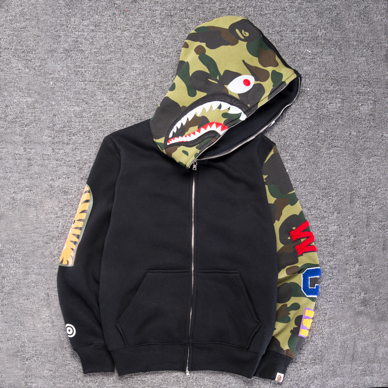 e85f1f083cbb A Bathing Ape Bape Hoodie Shark Head Jacket Full Zip Sweater Outwear Men s  Coats
