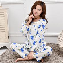新款棉绸睡衣女夏长袖薄款人造棉大码开衫套装绵绸中老年厂价批发
