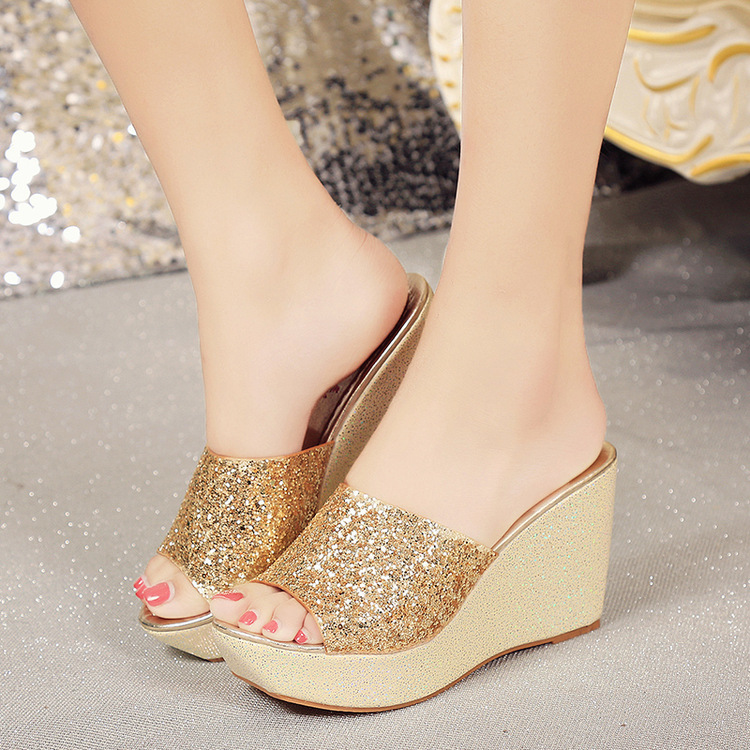 Summer sequined slippers wedges thick-so...