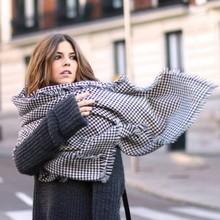 歐美風2018年秋冬新百搭大氣黑白千鳥格加厚披肩圍巾