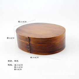 Japanese popular wooden single-layer oval brown sushi box lunchbox lunch box healthy and environmental protection