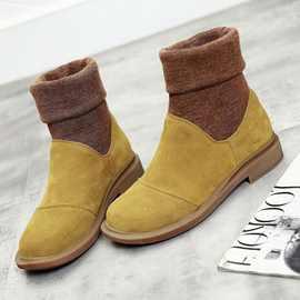 真皮平底短靴女秋冬马丁靴休闲女鞋磨砂皮女式中筒单靴子潮毛线靴