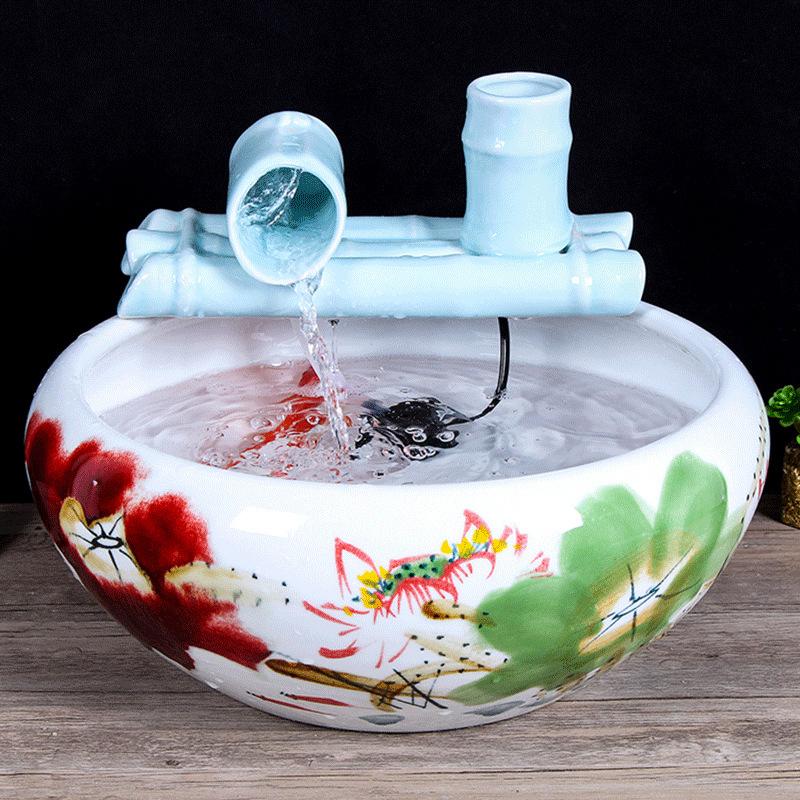 景德镇陶瓷鱼缸喷泉流水雾化加湿摆件客厅风水轮招财鱼缸乔迁礼品