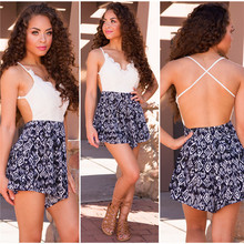 S3034  Europe and America hot sexy V-neck sleeveless lace printed jumpsuit  sales 1