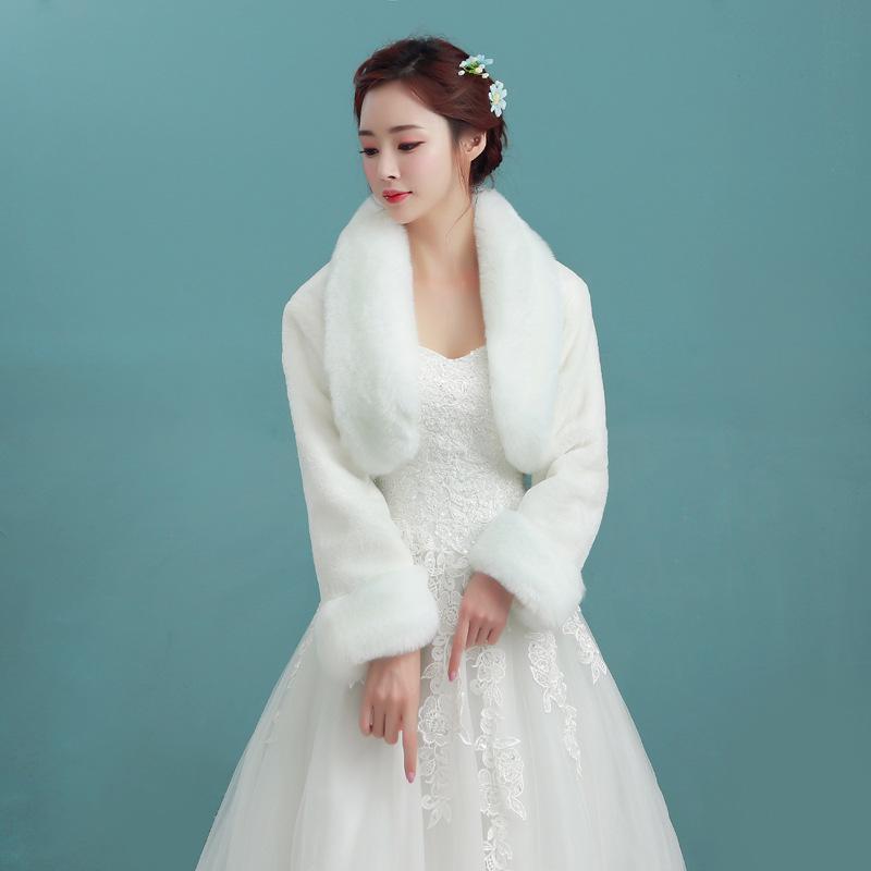 冬季结婚新娘婚纱兔毛披肩伴娘皮草袖口毛斗篷旗袍外搭晚装敬酒服