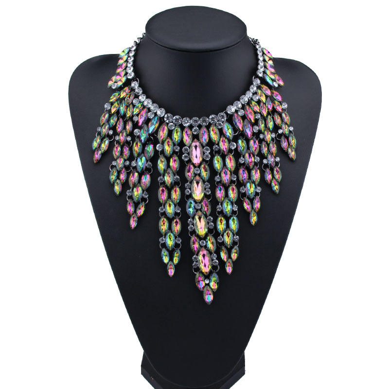 Occident and the United States alloy Rhinestone necklace (Light color) NHJQ7317