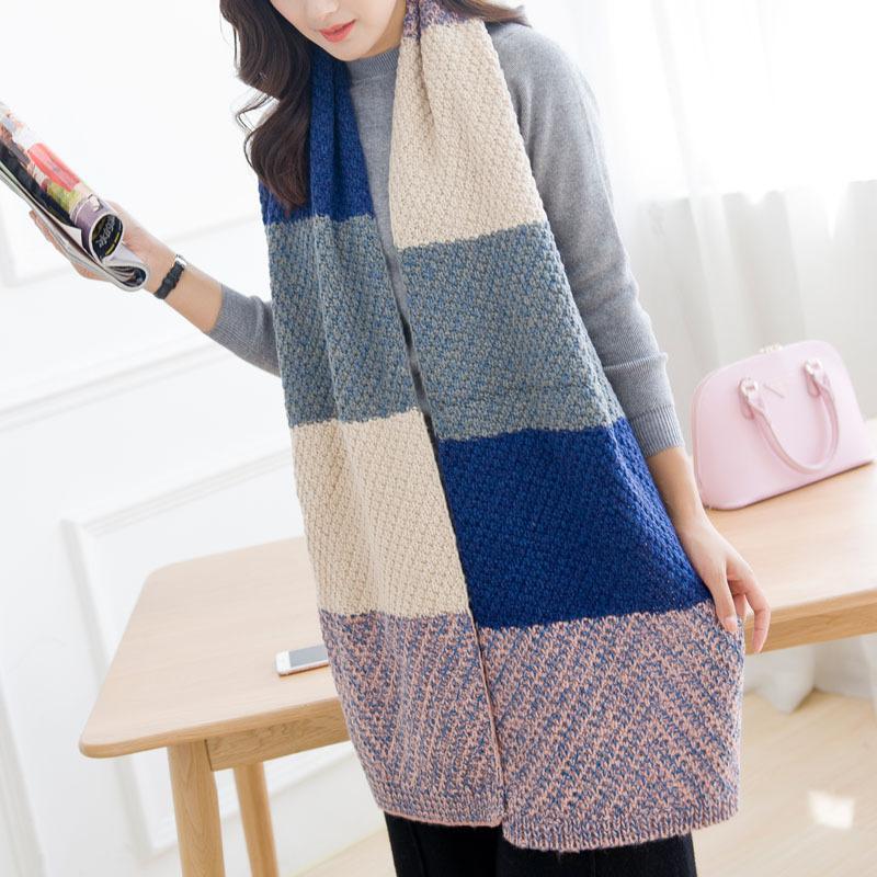 女士秋冬季韩版针织保暖加厚长围巾毛线围巾披肩两用拼色一件代发