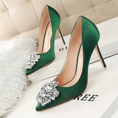Diamond shoes high heel with sexy thin shallow pointed mouth shining diamond buckle shoes's main photo