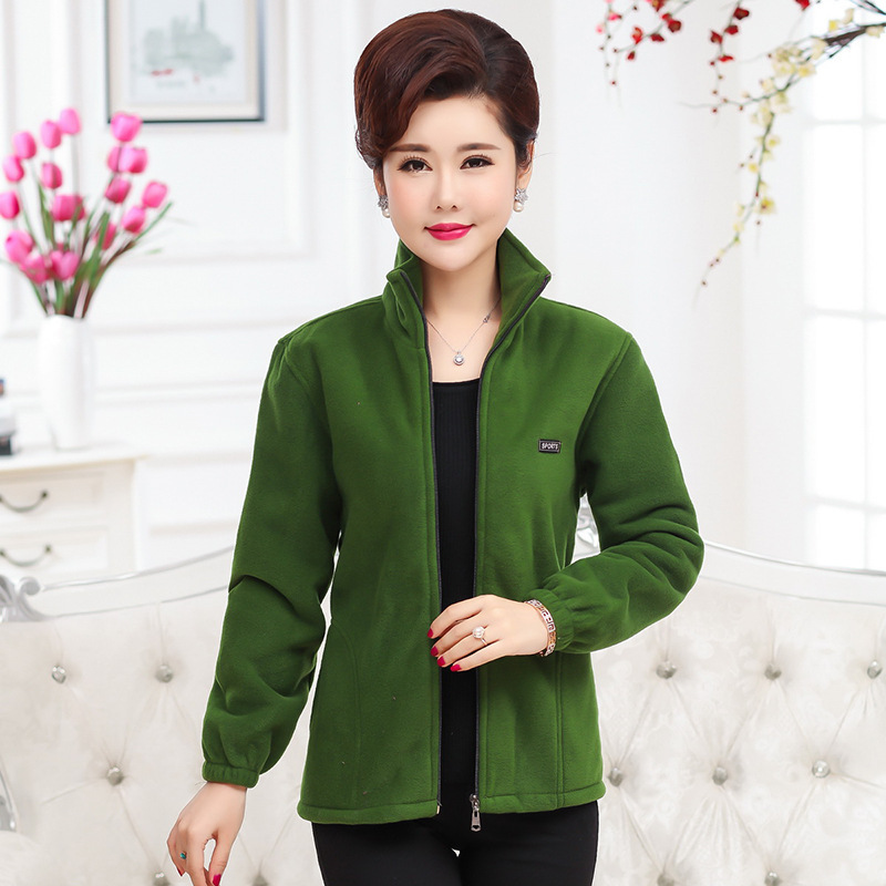 18 autumn winter new middle-aged and old women's fleece coat middle aged mother's sportswear leisure clothes factory wholesale