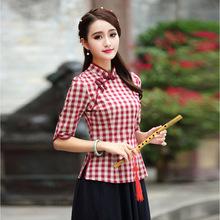 夏季民国风日常改良旗袍上衣女装时尚清纯五分袖格子中式唐装批发