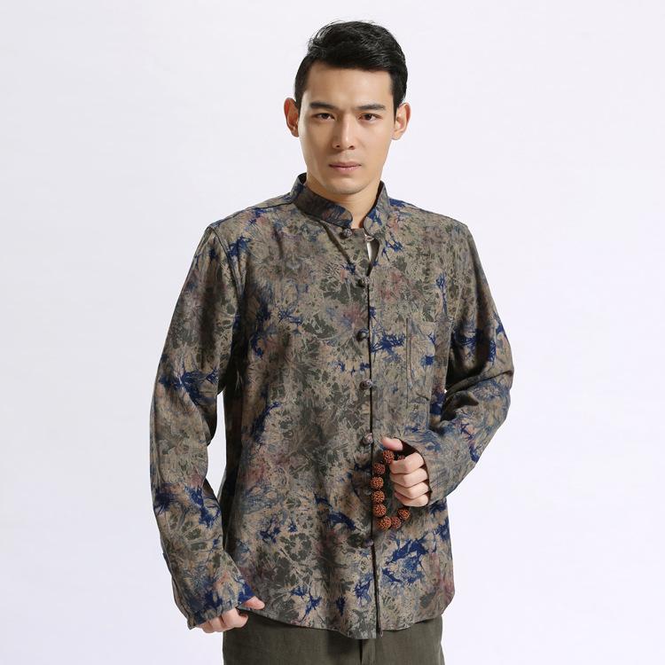 2019中国风男装 棉麻扎染男衬衫立领中式盘扣长袖宽松上衣开衫