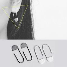 韩国韩版S925纯银欧美极简个性几何型回形针拉丝素面耳勾钩耳饰