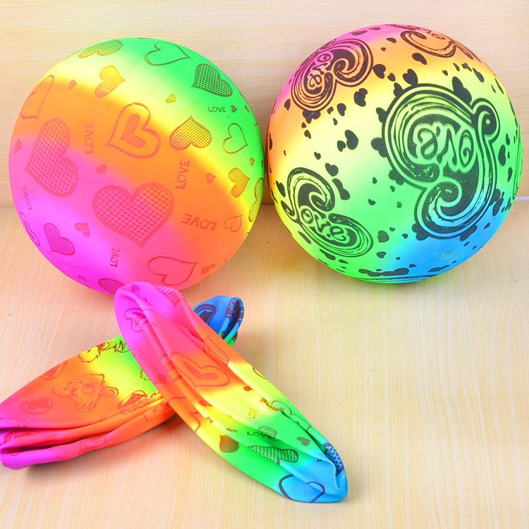 儿童款加厚型pvc材质拍拍球彩虹版沙滩排球拍拍球花色皮球