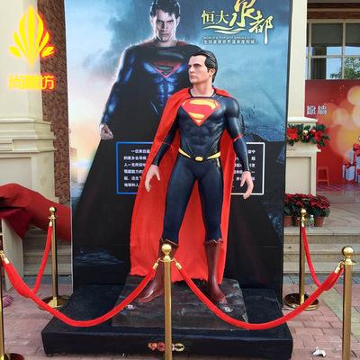 定制人物雕塑 玻璃钢电影院主题展览超人影视摆件展览展示道具