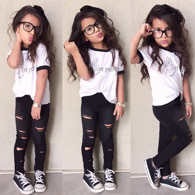 c8670d489 Tops Ripped Pants Cut Trousers Outfits Set 2PCS Cute Baby Kids Girls Summer  Clothes Sets Fashion Outfits 2-7 Years