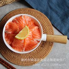 欧式创意竹木手柄沙拉碗意面碗西式水果碗甜点碗西餐凉拌陶瓷餐具