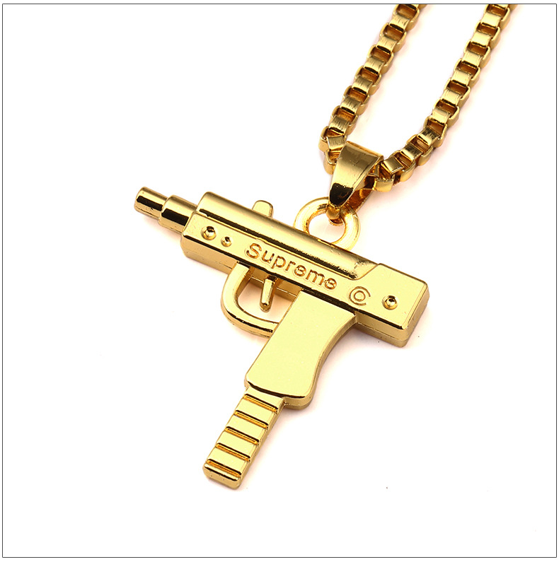 Wholesale hot sales uzi gold chain hip hop long pendant necklace uzi gold chain hip hop long pendant necklace men women fashion brand gun shape pistol pendant mozeypictures