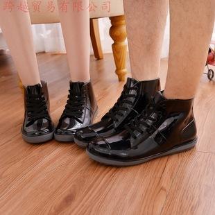 时尚情侣系带雨鞋女男士纯色学生短筒雨靴低帮韩国防滑水套鞋胶鞋
