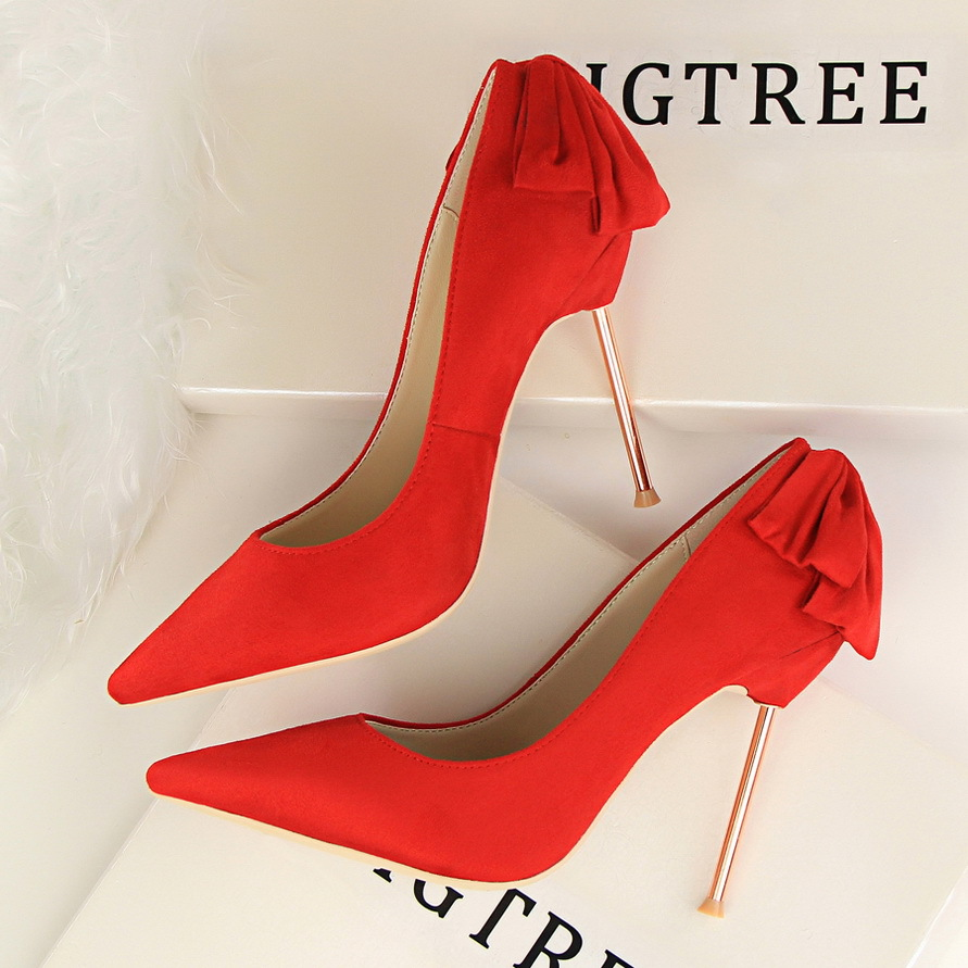 395-2 han edition with high fashion sexy show thin thin and shallow mouth pointed suede bow after single shoe heels