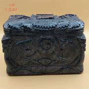 厂家直销黑墨玉一帆风顺寿盒原材料手工打造加工定制殡葬用品批发