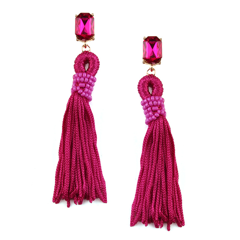Occident alloy tassel Earrings ( Light blue ) NHJQ4478