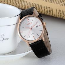 新款男士商務腕表女士休閑皮帶手表 超薄簡約情侶對表 淘寶熱銷款