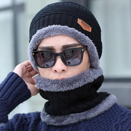 冬季韩版毛线帽 加绒保暖针织帽套头帽男 淘宝爆款男士围脖帽子潮