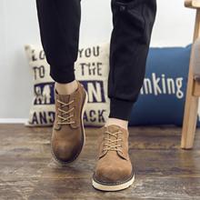 磨砂皮二层牛皮男靴男鞋秋冬款复古英伦时尚日常正装皮靴韩欧日